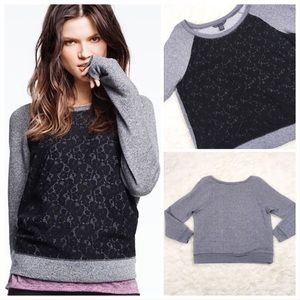 Victoria's Secret Lace Front Sweatshirt Black Grey